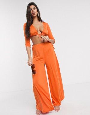 Оранжевые широкие пляжные брюки с завязкой на поясе от комплекта -Оранжевый ASOS DESIGN