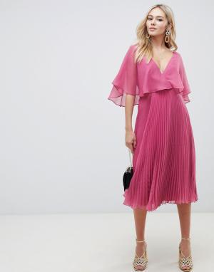 Платье миди с рукавами клеш и плиссированной юбкой -Розовый ASOS DESIGN