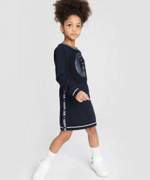 Трикотажное платье для девочек O`Stin. Цвет: темно-синий