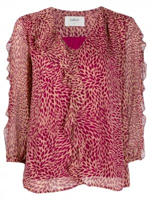 Блузка-трапеция с оборками Ba&Sh. Цвет: розовый