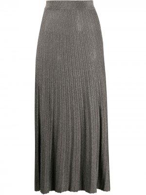 Трикотажная юбка миди с эффектом металлик Roberto Collina. Цвет: серый