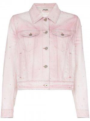 Джинсовая куртка с кристаллами Miu. Цвет: розовый