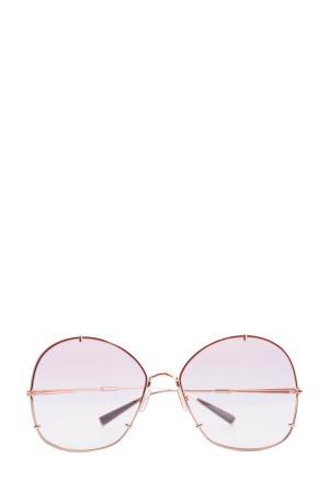 Очки с круглой оправой oversize из тонкого золотистого металла MAX MARA (sunglasses). Цвет: none