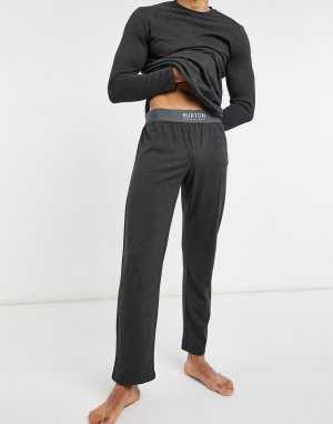 Комплект для дома из лонгслива с карманом и джоггеров серого цвета -Серый Burton Menswear