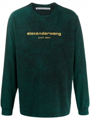 Embroidered logo sweatshirt Alexander Wang. Цвет: зеленый