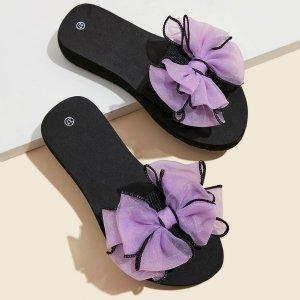 Тапочки с бантом SHEIN. Цвет: пурпурный