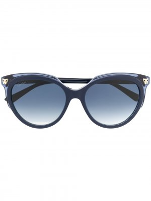 Солнцезащитные очки Panthere в массивной оправе Cartier. Цвет: синий