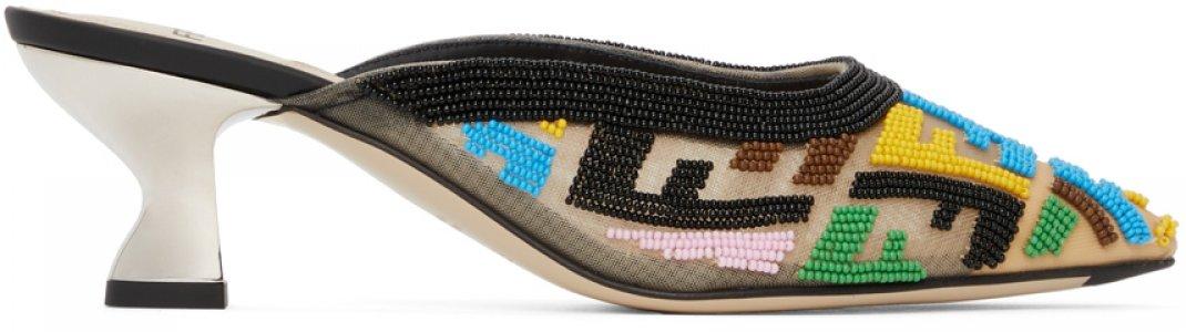 Multicolor FF Heeled Mules Fendi. Цвет: f1c4j multi