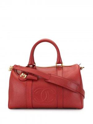 Дорожная сумка Boston 1997-го года с логотипом CC Chanel Pre-Owned. Цвет: красный