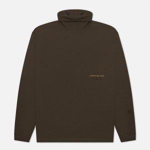 Мужская водолазка LS Off Placed Roll Neck Calvin Klein Jeans. Цвет: оливковый