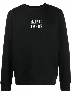 Толстовка с круглым вырезом и логотипом A.P.C.. Цвет: черный