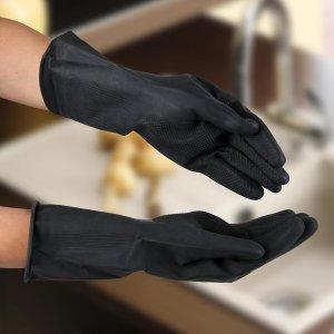 Перчатки хозяйственные защитные, химически стойкие, латекс, размер l, 100 гр, цвет чёрный Доляна