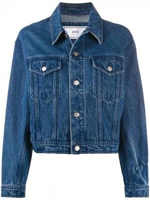 Джинсовая куртка свободного кроя AMI Paris. Цвет: синий
