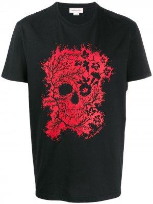 Floral skull print T-shirt Alexander McQueen. Цвет: черный