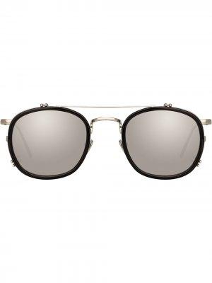 Солнцезащитные очки Tomasi в круглой оправе Linda Farrow. Цвет: черный