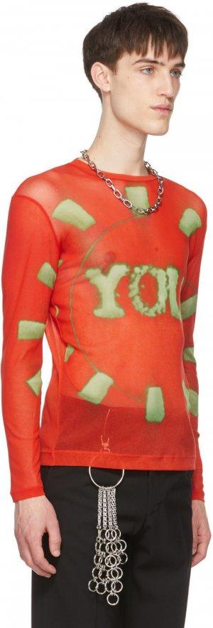 Red Len Lye Edition Semi-Sheer Long Sleeve T-Shirt Dries Van Noten. Цвет: 352 red