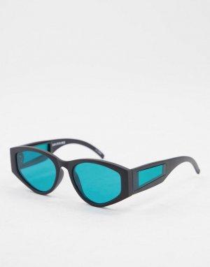 Круглые солнцезащитные очки унисекс в черной оправе с бирюзовыми линзами и элементами на дужках Cobain 2-Черный цвет Spitfire