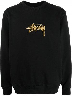 Толстовка с вышитым логотипом Stussy. Цвет: черный