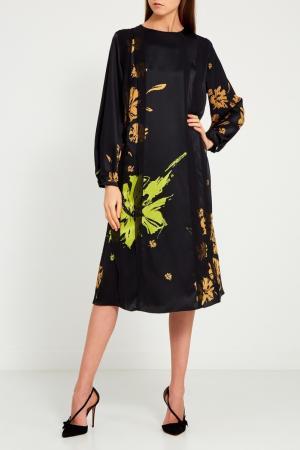 Шелковое платье с оборками Chapurin. Цвет: черный