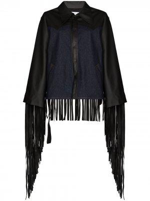 Джинсовая куртка с бахромой Natasha Zinko. Цвет: синий