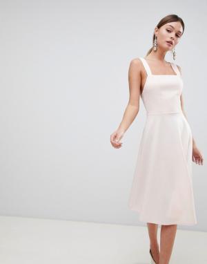 Платье для выпускного с квадратным вырезом ASOS DESIGN. Цвет: розовый