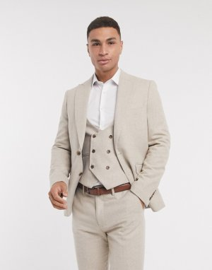 Узкие пиджак из шерсти с узором «в елочку» -Белый Gianni Feraud