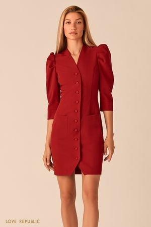 Короткое платье на пуговицах с рукавами-буфами ягодного цвета LOVE REPUBLIC