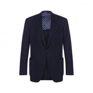 Пиджак из смеси кашемира и шелка Zilli. Цвет: синий