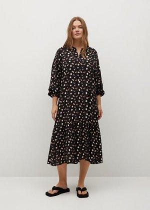 Длинное платье с принтом - Wilson Mango. Цвет: черный