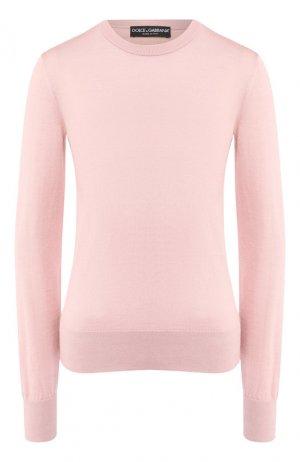 Пуловер из смеси кашемира и шелка Dolce & Gabbana. Цвет: светло-розовый