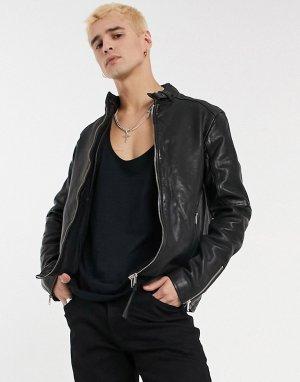 Черная кожаная куртка Cora-Черный цвет AllSaints