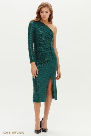 Вечернее платье на одно плечо с пайетками LOVE REPUBLIC