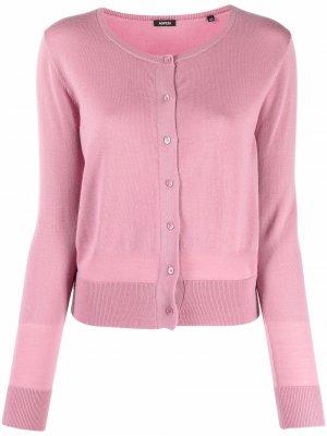 Round-neck wool cardigan Aspesi. Цвет: розовый
