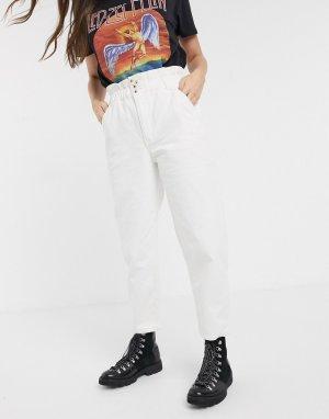 Широкие джинсы с завышенной талией -Белый JDY