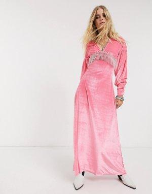 Бархатное платье макси с длинными рукавами -Розовый ASOS DESIGN