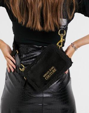 Черная сумка через плечо наполовину из искусственного меха -Черный Versace Jeans Couture