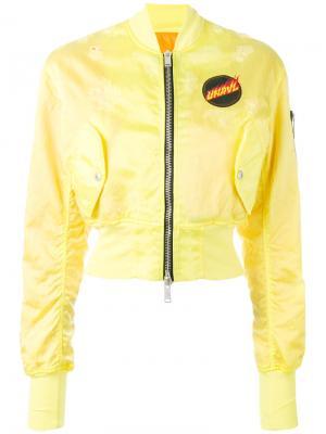 Укороченная куртка-бомбер Unravel Project. Цвет: желтый