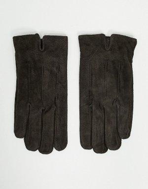 Коричневые замшевые перчатки для сенсорных экранов Barneys Original-Коричневый цвет Originals