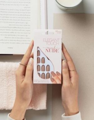 Светло-бежевые накладные ногти овальной формы с матовым эффектом -Бежевый Elegant Touch