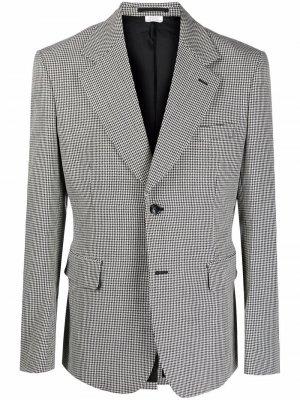 Однобортный шерстяной пиджак в ломаную клетку Comme Des Garçons Homme Plus. Цвет: черный