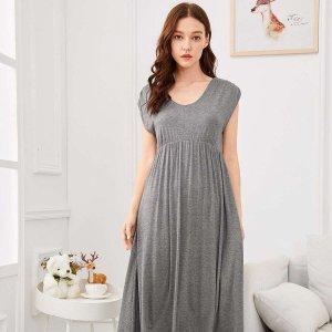 Простая ночная сорочка с высокой талией SHEIN. Цвет: серые