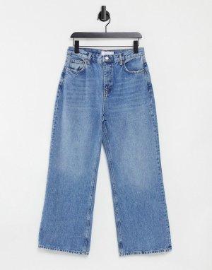 Синие джинсы узкого кроя с широкими штанинами -Голубой Topshop