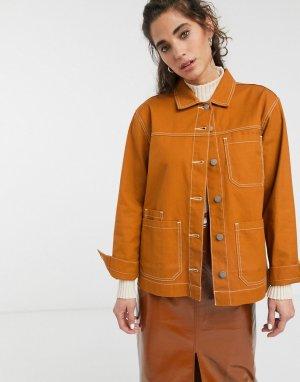 Куртка с контрастной строчкой -Коричневый Dr Denim