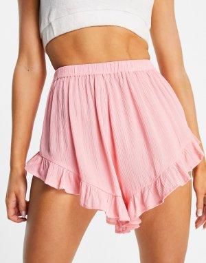 Розовые пляжные шорты с оборками -Розовый цвет ASOS DESIGN