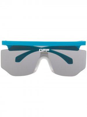 Солнцезащитные очки Mask в прямоугольной оправе Off-White. Цвет: синий