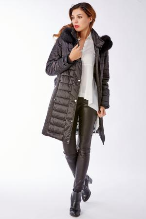Женское прямое стеганое пальто с натуральным мехом Laura Bianca. Цвет: черный