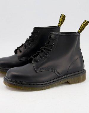 Черные гладкие ботинки с 6 парами люверсов 101-Черный цвет Dr Martens