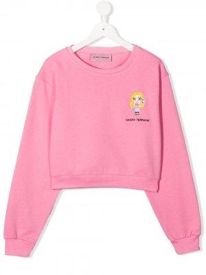 Толстовка с вышитым логотипом Chiara Ferragni Kids. Цвет: розовый