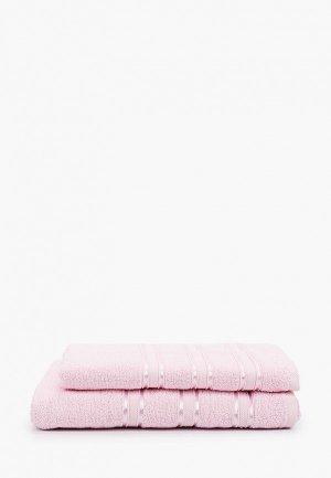 Набор полотенец Эго 2 шт., 50х85 см, 70х135 см. Цвет: розовый
