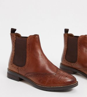 Светло-коричневые кожаные ботинки челси wide fit-Светло-коричневый Dune